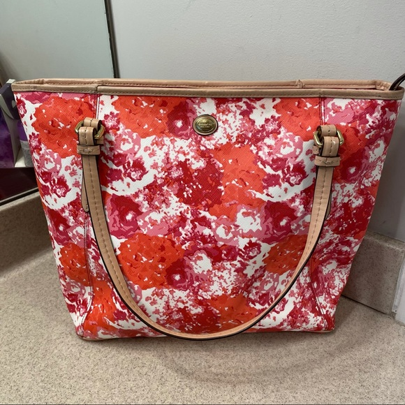Coach Peyton Saffiano Leather Floral Zip Tote #